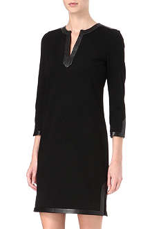 DIANE VON FURSTENBERG Leather-trim jersey dress