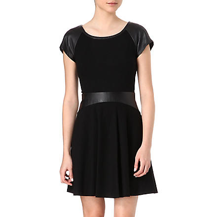 DIANE VON FURSTENBERG Delyse leather detail dress (Black