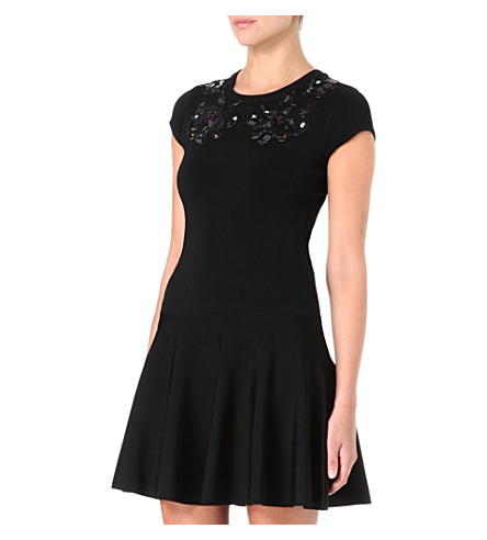 DIANE VON FURSTENBERG Renee knitted black printed dress (Black
