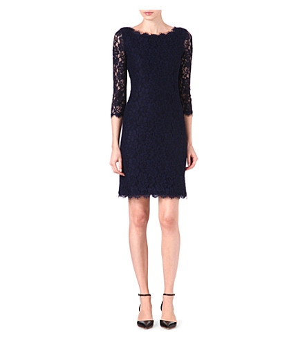 DIANE VON FURSTENBERG Zarita long lace dress (Navy