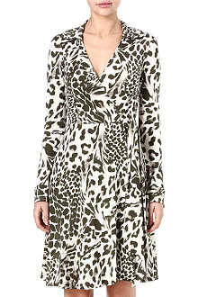 DIANE VON FURSTENBERG Feleo leopard silk wrap dress