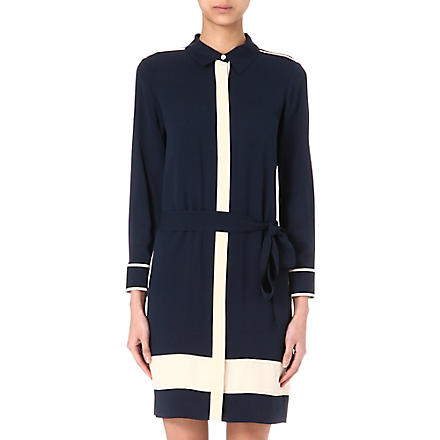 DIANE VON FURSTENBERG Silk shirt dress (Admiral navy/ecru