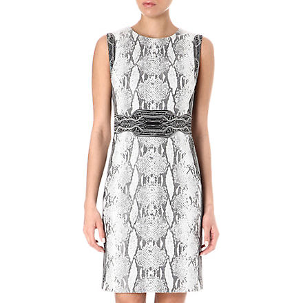 DIANE VON FURSTENBERG Snake-print belted dress (Black/white+combo