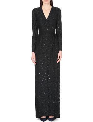 DIANE VON FURSTENBERG Elle embellished cheetah-lace wrap gown