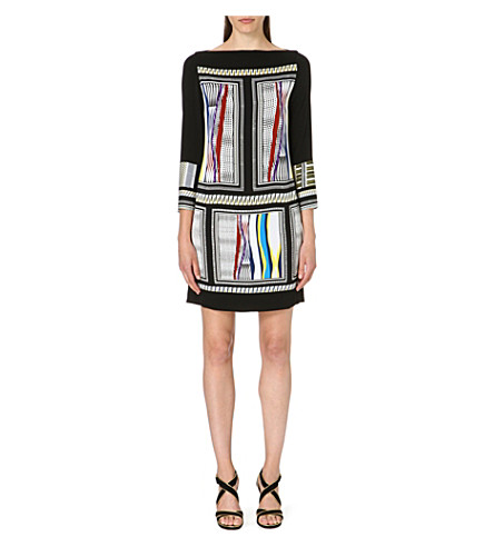 DIANE VON FURSTENBERG Jocelyn boat-neck dress (Glass scarf / black