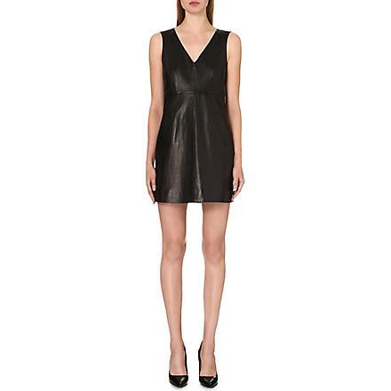 DIANE VON FURSTENBERG Halle leather and jersey dress (Black
