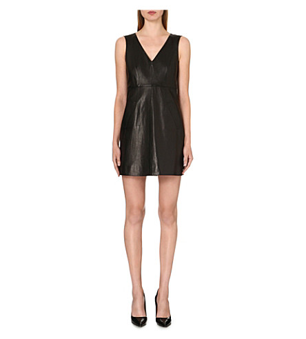 DIANE VON FURSTENBERG Halle leather and jersey dress (Black