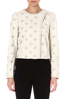 DIANE VON FURSTENBERG Cocoa studded leather jacket