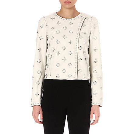 DIANE VON FURSTENBERG Cocoa studded leather jacket (Ecru