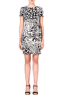 DIANE VON FURSTENBERG Zoe feather leopard-print silk dress