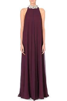 DIANE VON FURSTENBERG Embellished-neckline silk gown