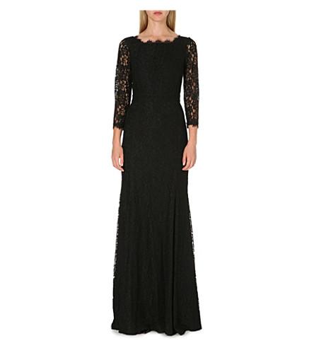 DIANE VON FURSTENBERG Floral lace long gown (Black/nude
