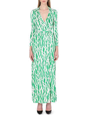 DIANE VON FURSTENBERG Printed silk maxi wrap dress