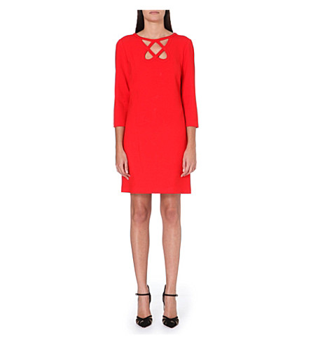 DIANE VON FURSTENBERG Cut-out stretch-crepe dress (Red