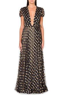 DIANE VON FURSTENBERG Floor-length star print gown