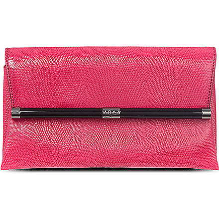 DIANE VON FURSTENBERG 440 scaled envelope clutch (Raspberry