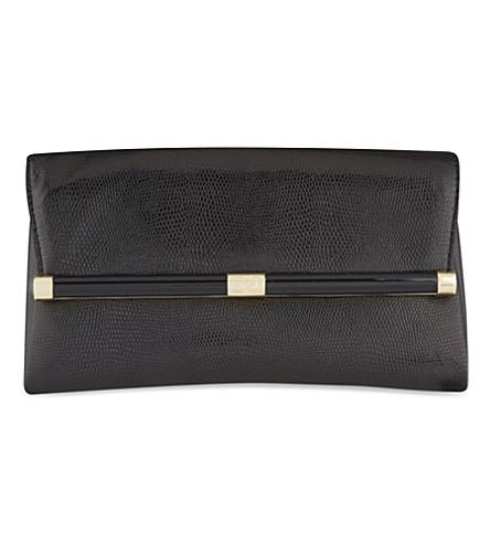 DIANE VON FURSTENBERG Lizard-embossed leather clutch (Black
