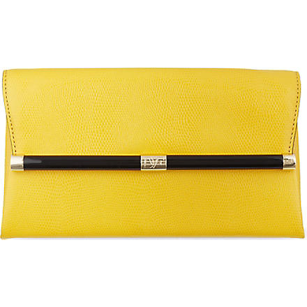 DIANE VON FURSTENBERG Lizard-embossed leather clutch (Yellow