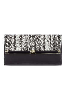 DIANE VON FURSTENBERG Snake-embossed leather clutch