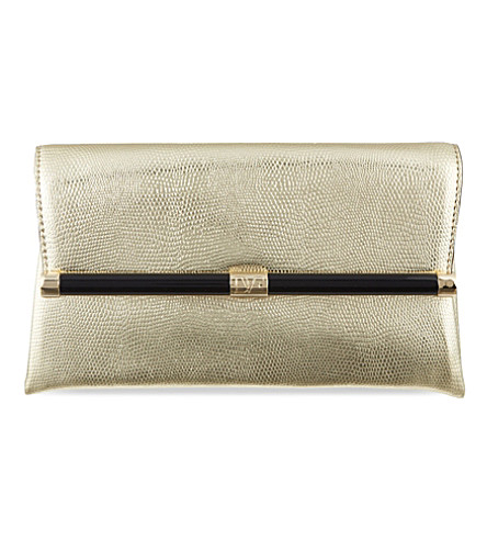 DIANE VON FURSTENBERG Lizard-embossed leather clutch (Gold