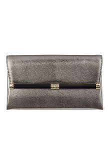 DIANE VON FURSTENBERG Lizard-embossed leather clutch