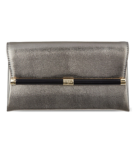 DIANE VON FURSTENBERG Lizard-embossed leather clutch (Silver