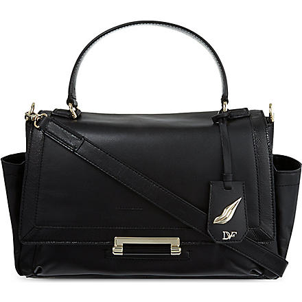 DIANE VON FURSTENBERG Snakeskin-embossed courier bag (Black