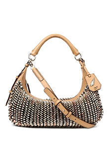DIANE VON FURSTENBERG Sutra metallic leather zip hobo bag