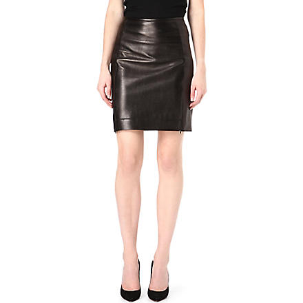 DIANE VON FURSTENBERG Rita leather pencil skirt (Black