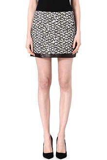 DIANE VON FURSTENBERG Elley tweed leather-trimmed mini skirt