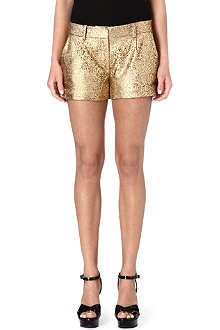 DIANE VON FURSTENBERG Floral cut-out leather shorts