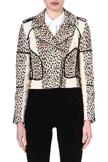 DIANE VON FURSTENBERG Leopard print and leather biker jacket