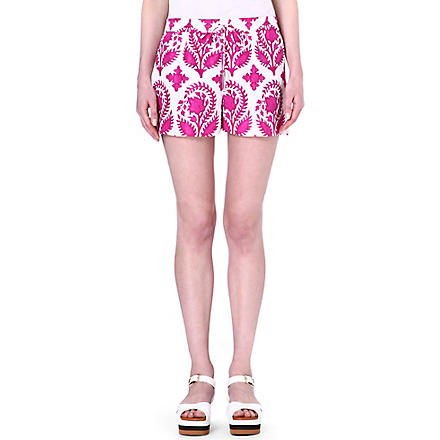 DIANE VON FURSTENBERG Foliage gathered waist shorts (Brocade/purple