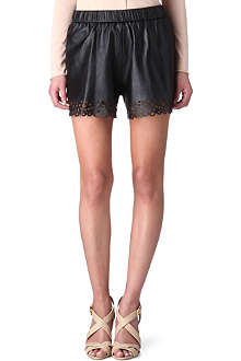 DIANE VON FURSTENBERG Laser-cut leather shorts