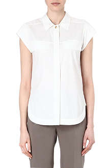 DIANE VON FURSTENBERG Cap-sleeved stretch-cotton shirt