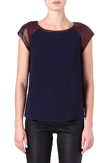 DIANE VON FURSTENBERG Valentine leather-shoulder top