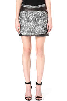 DIANE VON FURSTENBERG Coletta tweed and leather skirt