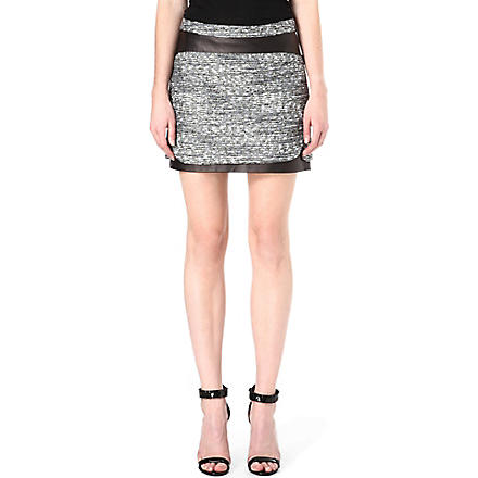 DIANE VON FURSTENBERG Coletta tweed and leather skirt (Multi