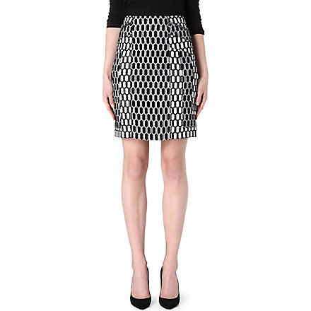 DIANE VON FURSTENBERG Laury jersey-knit pencil skirt (Black/ivory