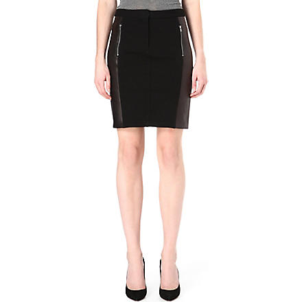 DIANE VON FURSTENBERG Lisa leather-panel pencil skirt (Black