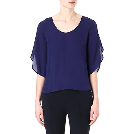 DIANE VON FURSTENBERG Nancy long-sleeved silk top (Indigo