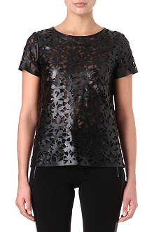 DIANE VON FURSTENBERG Ora floral cut-out leather top
