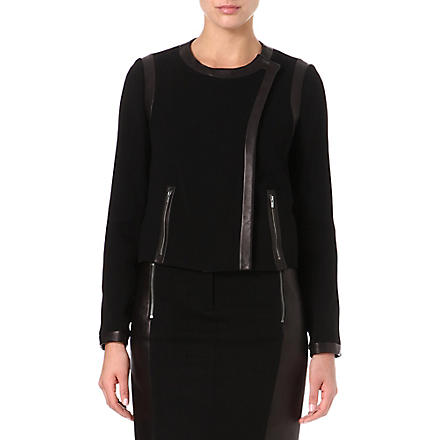 DIANE VON FURSTENBERG Esther leather-trim jacket (Black