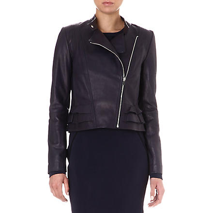 DIANE VON FURSTENBERG Heaven frilled leather jacket (Indigo