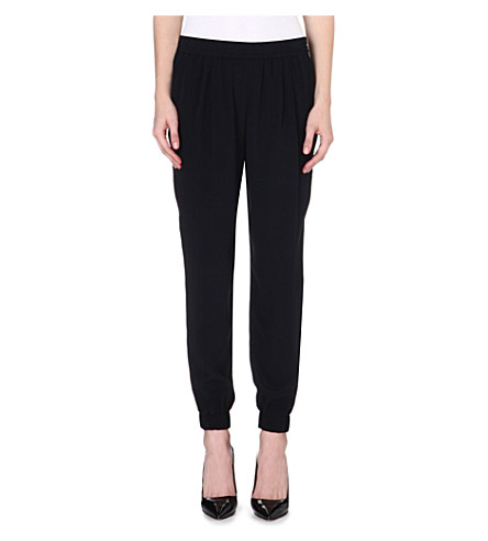 DIANE VON FURSTENBERG Janeta tapered high-rise silk trousers (Black