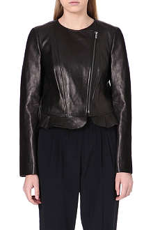 DIANE VON FURSTENBERG Peplum leather jacket