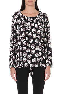 DIANE VON FURSTENBERG Abstract print pheasant blouse