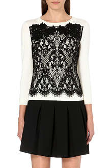 DIANE VON FURSTENBERG Lace-panel wool-blend jumper