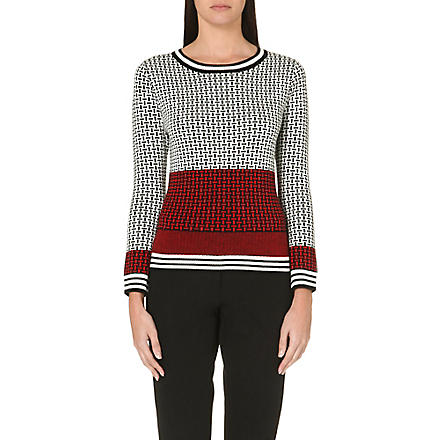 DIANE VON FURSTENBERG Micro-stitched wool jumper (Black/ivory