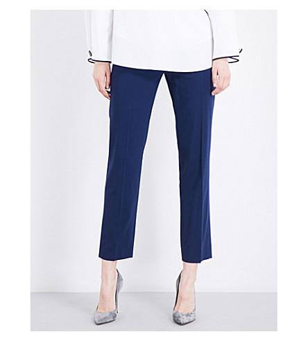 DIANE VON FURSTENBERG Tapered cropped stretch-wool trousers (Midnight